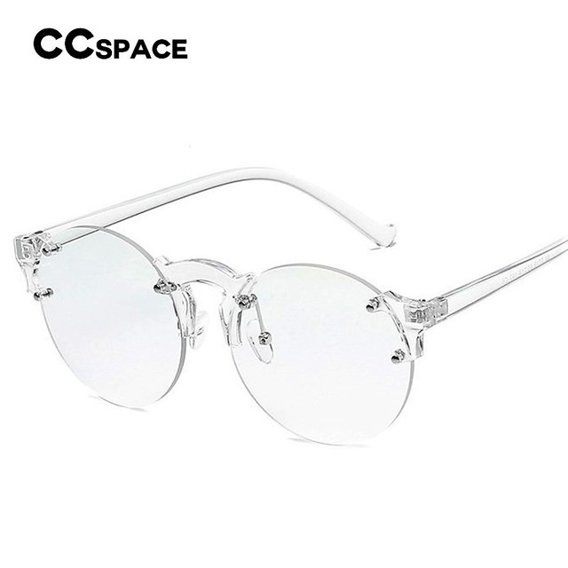1c4c0e104213 CCSPACE Glamourous Round Transparent Glasses Frame Women Cateye Pink Glasses  Brand Designer Clear Eyewear Computer Glasses 45221