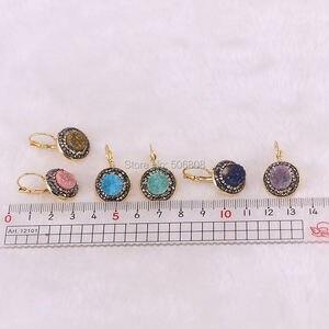 Image 3 - 10 pares de pendientes de piedra Natural para mujer de titanio geoda pendientes modernos de cuarzo redondo