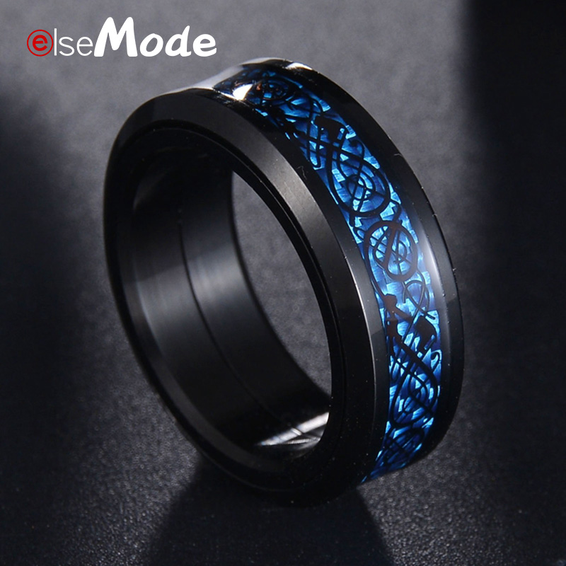 Jewellery Erding Fashion Gift Mens Rings Blue Red Color Carbon