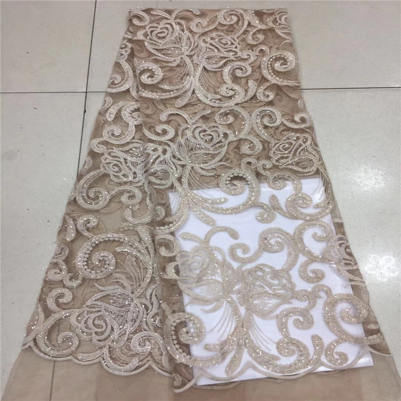 VILLIEA Gold New style French Net Lace Fabric 3D Flower African Tulle Mesh Lace Fabric High