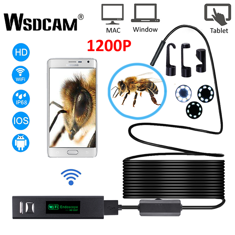 Wsdcam WIFI Endoscope Camera HD 1200P Mini Waterproof Hard Wire Wireless 8mm 8 LED Borescope Camera For Android PC IOS Endoscope