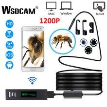 Wsdcam WIFI 내시경 카메라 HD 1200P 미니 방수 하드 와이어 무선 8mm 8 LED Borescope 카메라 안 드 로이드 PC IOS 내시경