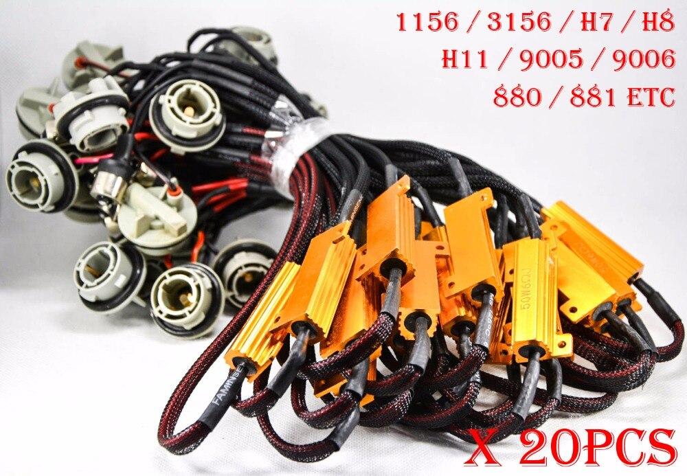 20PCS H11 1156 3156-A 50W 6ohm Fusible de oro Bombillas LED Niebla A - Luces del coche