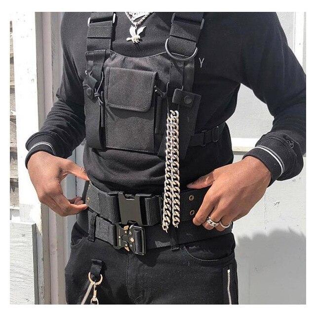 מתכוונן שחור אפוד היפ הופ Streetwear תפקודי טקטי לרתום חזה Rig Kanye West חבילת מותניים חזה תיק אופנה ניילון c5