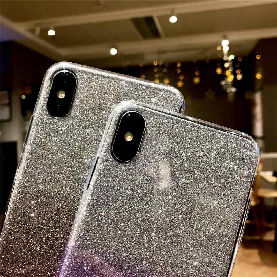 Silikonowy tęczowy brokat etui na telefony dla iphone XS MAX XR Sony XZ Z5 C5 C6 Xperia X XA XA1 XA2 XP Ultra XR XC XZ1 XZ2 zamykane pokrowce