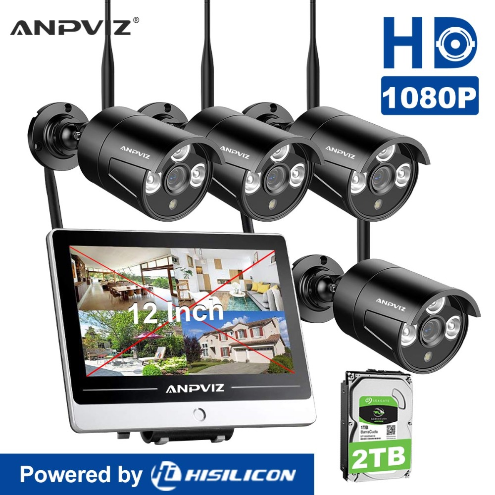 Anpviz 4CH 1080P 12 LCD Monitor Wireless NVR Kit Wifi CCTV System 2MP Outdoor Camera P2P Video Surveillance System Set 2TB HDD 4ch wireless nvr kit 13 lcd monitor screen waterproof 1080p 2mp security cctv ip camera wifi p2p video surveillance system set