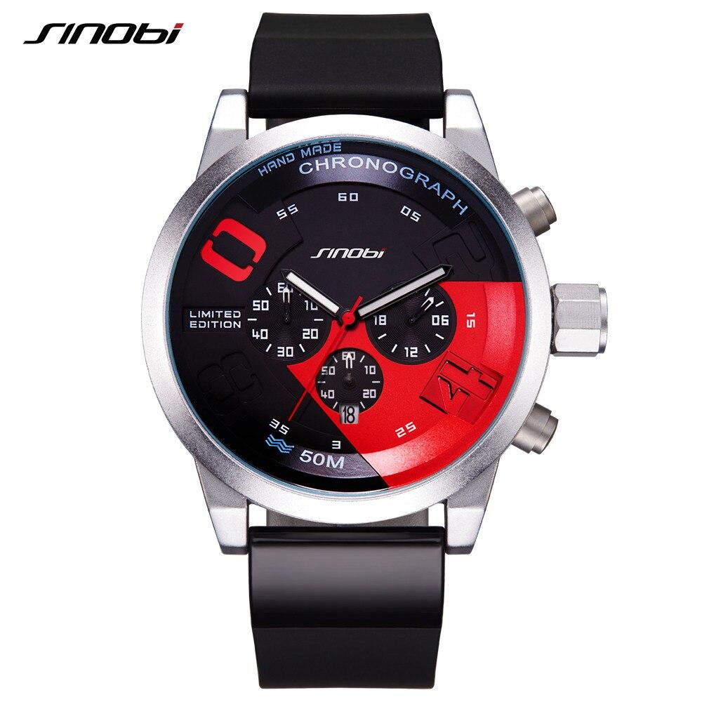 SINOBI Men Sports font b Watches b font Waterproof Black Dial Males Chronograph Quartz Wrist font