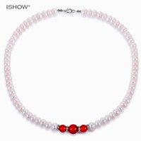 Luxus Frauen Imitation Perlenkette kurzen Kette Versilbert Roten perlen Halsband Halskette Schmuck Geschenk Collier