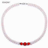 Irregular Natural Freshwater Pearl Necklace Women Silver Plated Crystal Red Agate Choker Necklace Wedding Jewelry Gift