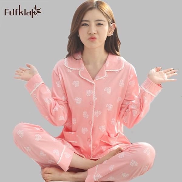 aeb734409 Primavera Outono Novas Mulheres de Manga Longa Homewear Pijama Das Senhoras  Sleepwear Mulheres Treino Definir Pijamas Mujer Plus Size M 4XL E0710 em ...