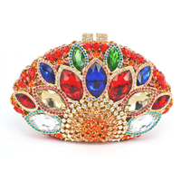 LaiSC Red Women Evening Clutch Bags Luxury Rhinestones Crystal Evening Bags Red Wedding Bag Party Cluth