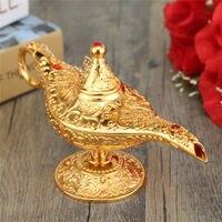 KiWarm Classic Metal Carved Aladdin Lamp Light Wishing Tea Oil Pot Decoration Collectable Saving Collection Arts Craft Gift
