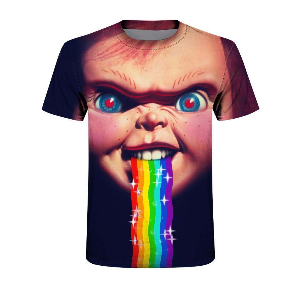 New Horror Chucky-Figure 3D print Womens Mens Casual T-Shirt Short Sleeve Tops