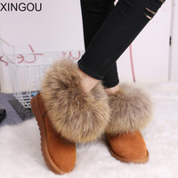 New Women S Boots Suede Leather Fox Fur Boots Snow Boots Fur Fashion Nubuck Leather Women
