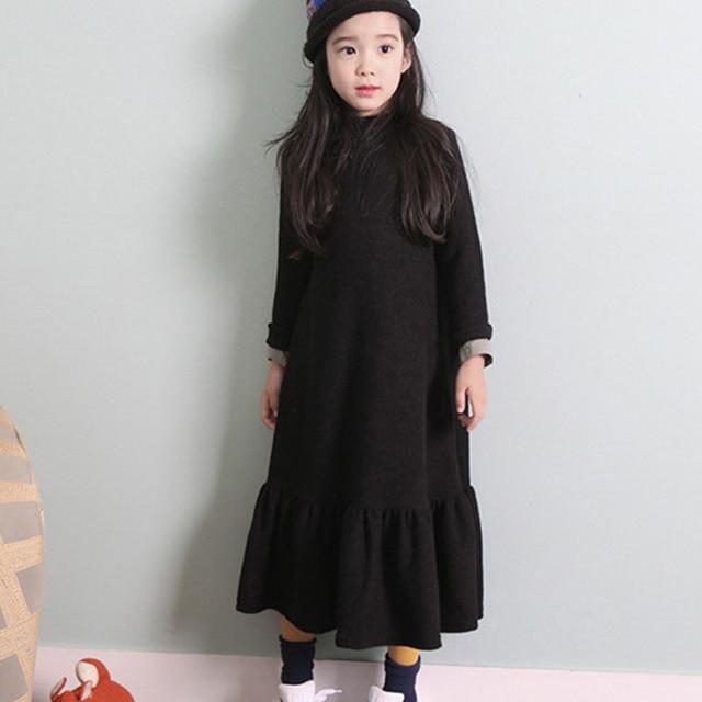 Осеннее теплое платье для девочек, коллекция 2018 года, зимние вельветовые плотные черные свободные длинные платья, Детская праздничная одежда принцессы, vestidos Maxi, одежда для больших детей