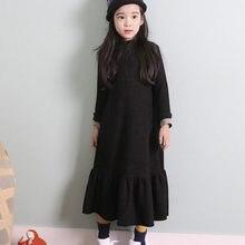 d284ea4a7 Otoño caliente niñas vestido 2018 invierno terciopelo negro grueso flojo  Vestidos largos niños princesa Vestidos Maxi