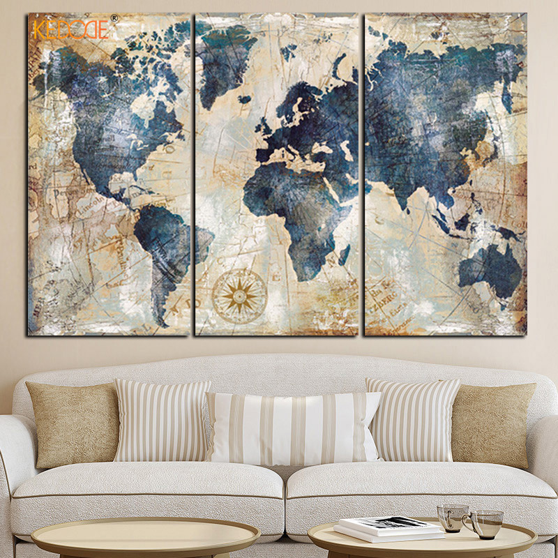 KEDODE 3pcs Watercolor World Map Painting HD Printed On Canvas Landscape Modular Wall Sofa Living Room Art Picture Oil Painting