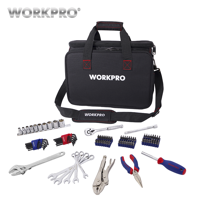 WORKPRO 143PC Mechanic tool set Ratchet Wrench Spanner Sockets Hex Key Set Screwdrivers for Bicycle Repairing Tool Kits 7pieces metric ratchet handle wrench set spanner gear wrench key tools to car bicycle combination open end wrenches 8mm 18mm