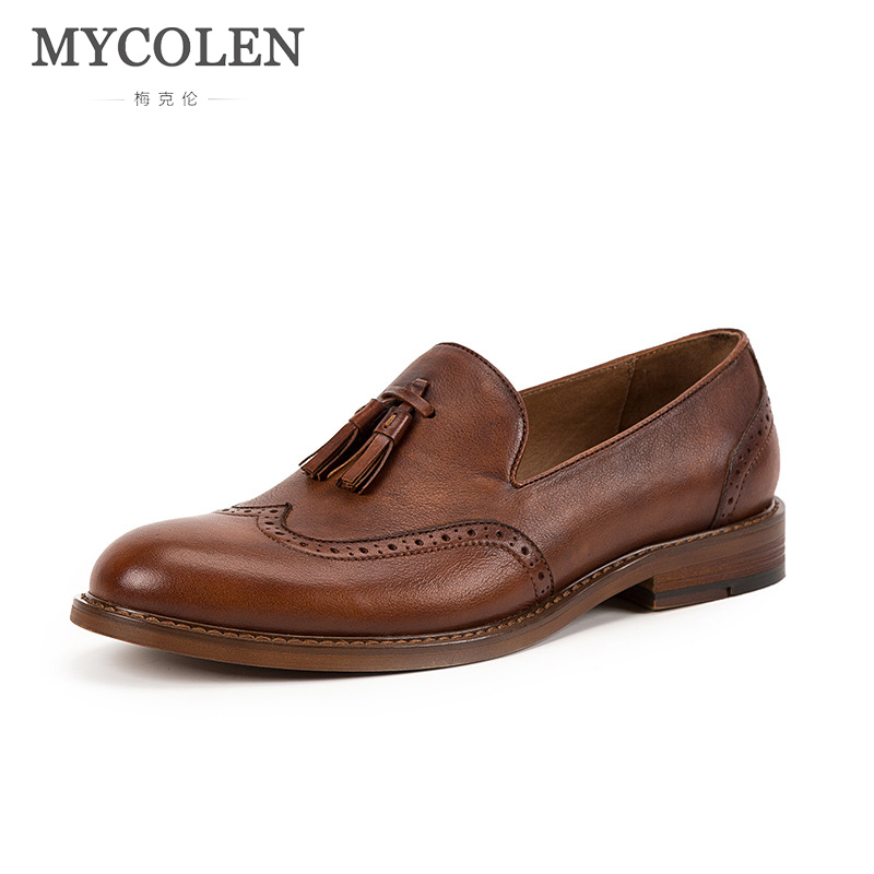 MYCOLEN New 2018 Men Cow Loafers Spring Autumn Genuine Brand Designer Leather Driving Moccasins Slip On Men Casual Shoes mycolen new casual shoes spring autumn men loafers 2017 slip on fashion loafer leather moccasins men shoes sapatos homens