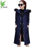 High Quality Women Denim Jacket Winter Cotton Coat Plus Cotton Thicker Parkas Hooded Fur collar Jacket Students Coats OKXGNZ1188
