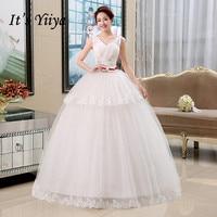 It's YiiYa Wedding Dress Elegant White wedding dresses Bow Shining Crystal V neck Sleeveless Floor Length Bridal Ball Gown HS136