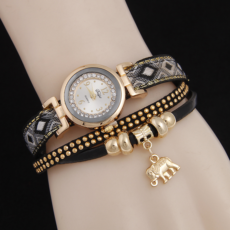 цены women retro weave watch laides rivet diamonds bracelet watch high quality elephant pendant quartz watch price drop hot selling