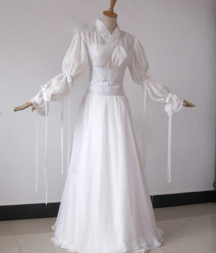 0f8f043a81b6e Liu YiFei Embroidery White Dragon Fairy Costume for TV Play The Condor  Heroes Xiao LongNv Drama Costume Hanfu