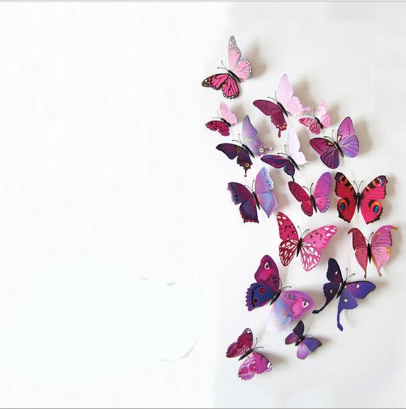Vinyl 3D Blue Butterflies For Wall Art Decal Removable Home Decoration DIY Beautiful Wall Stciker Home Decor