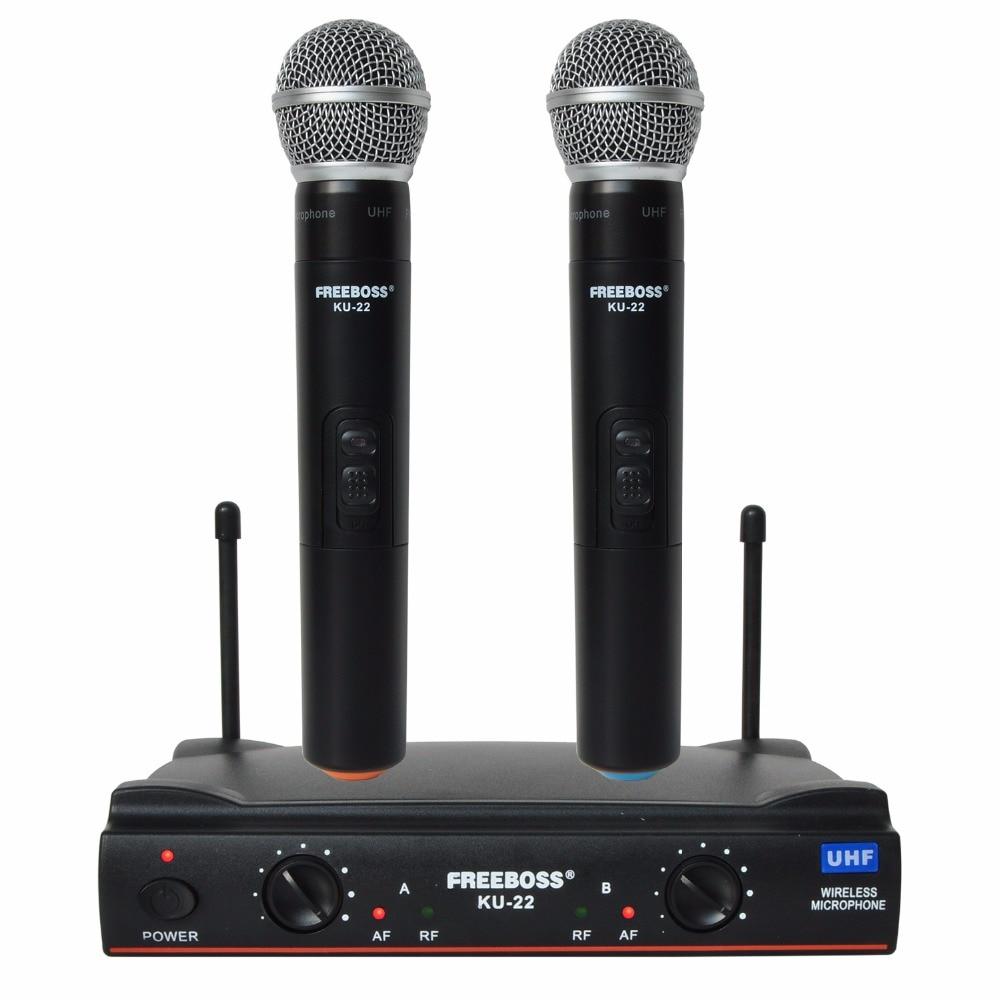 Freeboss KU-22 UHF Long Range Dual Channel 2 Handheld Mic Transmitter Professional Karaoke UHF Wireless Microphone System hot uhf ut4 type dual wireless microphone mic system cordless 2 mic audio karaoke party ktv dj black
