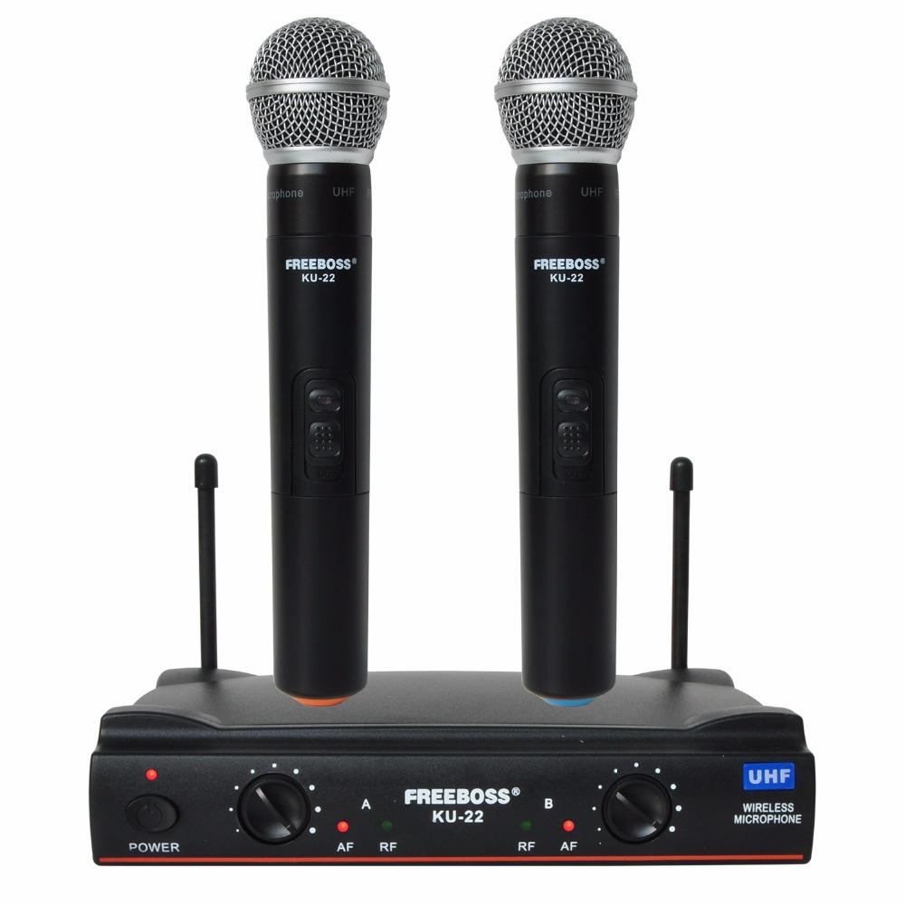 Prix pour Freeboss ku-22 uhf longue portée double canal 2 de poche mic émetteur karaoké professionnel uhf système de microphone sans fil
