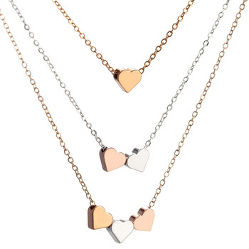 Hesiod Multi-layer Chain Heart Pendant Necklace Short Love Choker Necklace for Women Trendy Rose Gold Silver Color Collares image