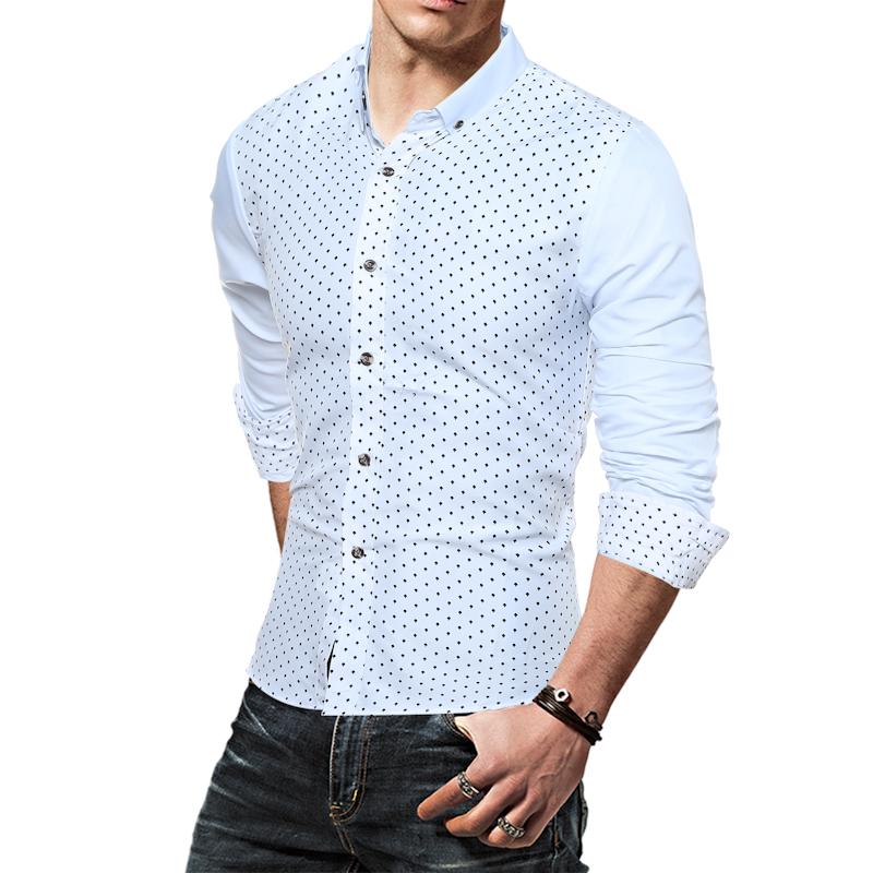 camisa social branca bolinhas