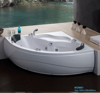 Wall Corner Fiber Glass Acrylic Whirlpool Bathtub Triangular Hydromassage Tub Nozzles Spary Jets Spa RS6601