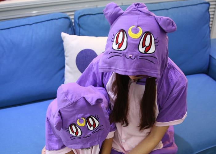Kawaii Purple Cat სპორტული Onesie Hoodie Pajamas - საკარნავალო კოსტიუმები - ფოტო 2