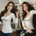 Nightclub Lady Sexy T Shirt Winter Women Fashion Autumn T-shirt Low Cut Novel Cotton Tees Tight Slim Cheap Clothes China Velvet