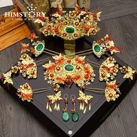 中国国家蝶デザインウェディングヘアアクセサリーブライ