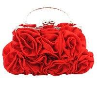 Women Satin Rose Pure Color Handbag Evening Bags Wedding Handbags
