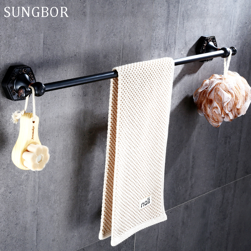 Oil Rubbed Bronze Single Bathroom Towel Rack Holder,Wall Mounted Bathroom Accessories Towel Holder Black free shipping SP-60810H luxury artistic towel bar single towel holder wall mounted bathroom towel rail rod oil rubbed bronze finish