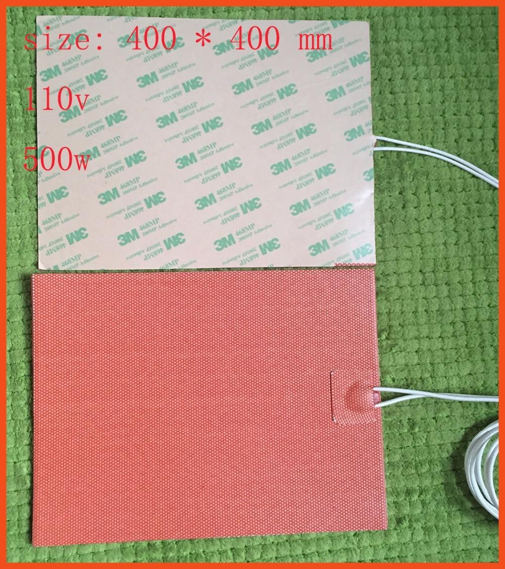 110v 500w 400 * 400 mm silicone riscaldamento pad / riscaldatore letto per stampante 3d con silicone heated bed film heater  pad 80x100mm silicone riscaldatore letto per stampante 3d silicone heater pad used for dust control of dust collector 250v 250w