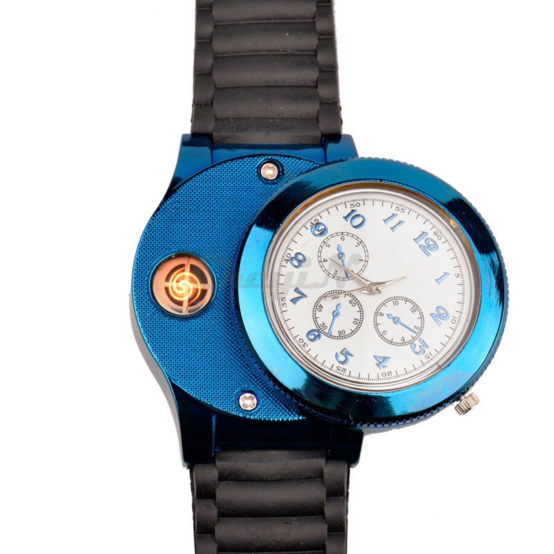 Hot Fashion Casual Sport Wristwatch USB Lighter Watches Silicone strap Quartz Watch Men Women Jelly USB Cigarette Lighter F772