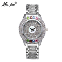 Miss Fox Ladies Designer Watches Luxury Watch Women 2017 Colorful Watch With Crystals Diamond Gold And Silver Watch Women Store