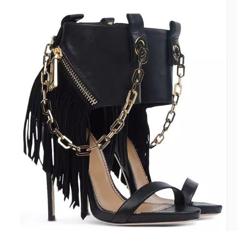 Elegant Women PU Chain Decoration Ankle Sandal Boots Sexy Ladies Open Toe High Heels Female Party Dress Sandals Shoes