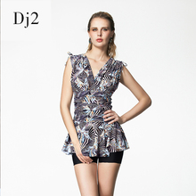 Ladies High Quality Vintage Retro Swimsuit Women's Two Piece Printed Swimwear Skirted Bathing Suit Tankini With Shorts Dress