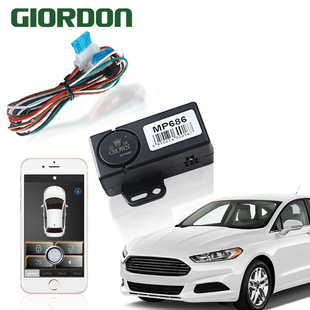 Smart Key Car Alarm System With Remote Start  And Bluetooth Controls Mobile Phone Control Keyless Entry&power