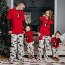 Рождественские пижамы, семейные зимние хлопковые пижамы с длинными рукавами для папы, мамы и детей, одинаковые комплекты для семьи