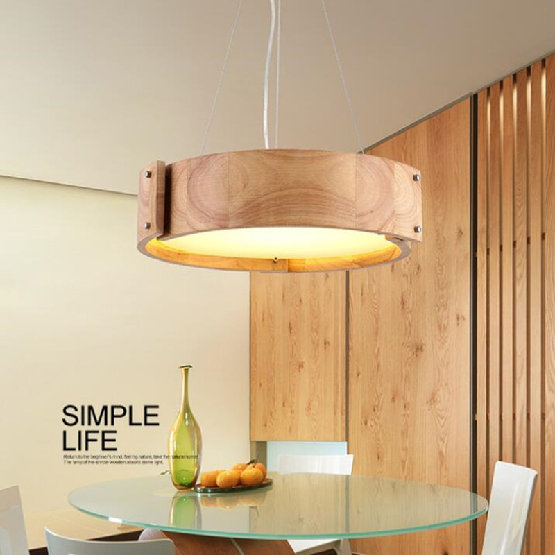 Nordic Wooden Lampshade LED Pendant Light for Dinning Room Bedroom Restaurant Solid Wood Office Kitchen Home Deco Hanging Lamp image