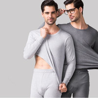 2 Pieces Cotton Thermal Underwear Set Men Spring Autumn Slimming Thin Long Johns Mens Round Neck Undershirts Trousers Blue Grey
