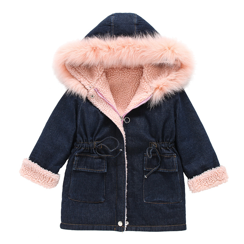 children winter outwear 2018 kids jeans jackets for girls thicken warm lambswool baby girls coat pink collar hooded girl trench hooded winter children jackets for girls boys warm down coat for girl clothing fashion outwear spiderman thicken down jackets