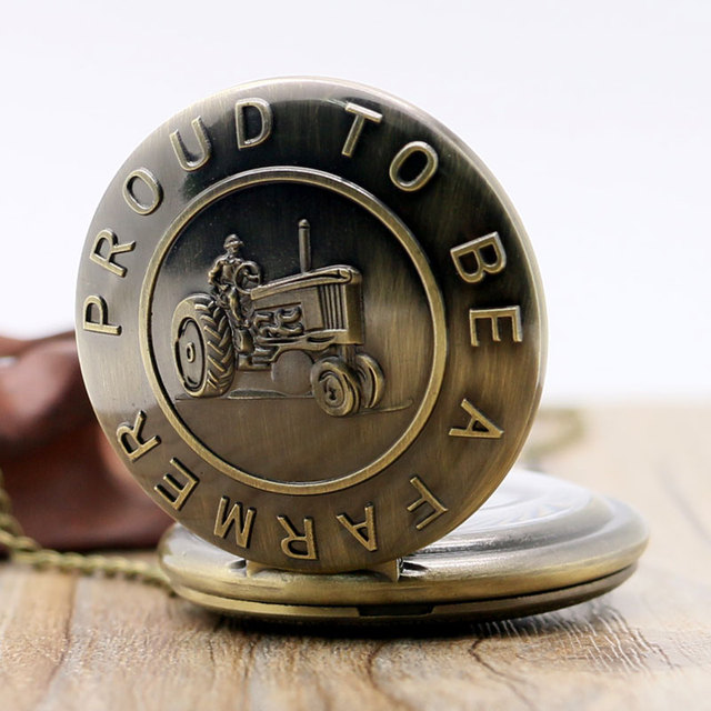 """Free Shipping Bronze Tractor Design """" Proud To Be A farmer """" Pocket Watch With N"""