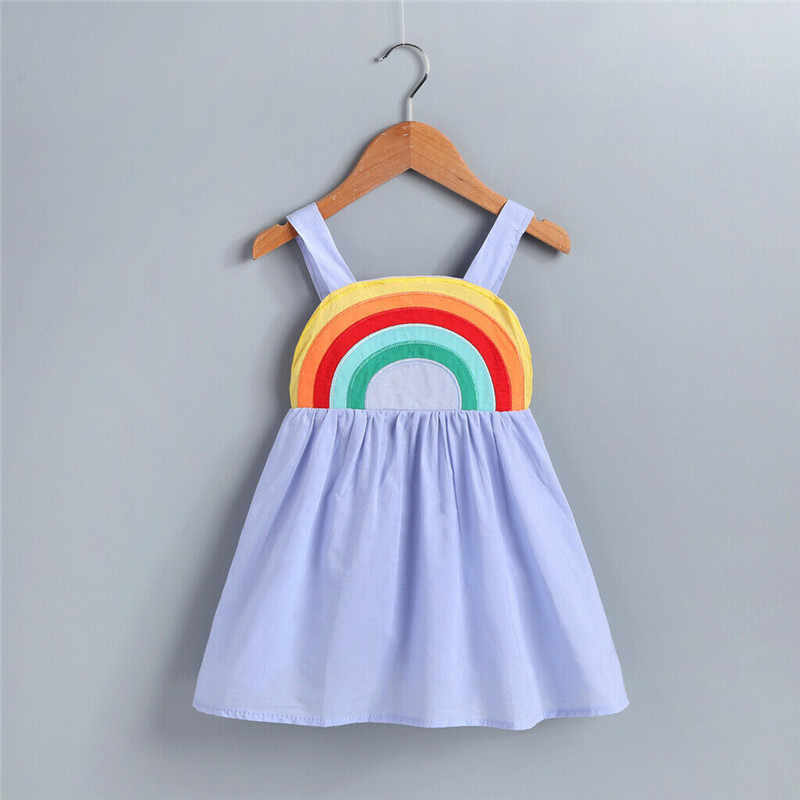 New Kids Baby Girl Summer Rainbow Sling Dress Sleeveless Party Beach Dresses Clothes Kids Dresses For Girls Cotton O-neck